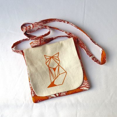 pochette renard origami orange