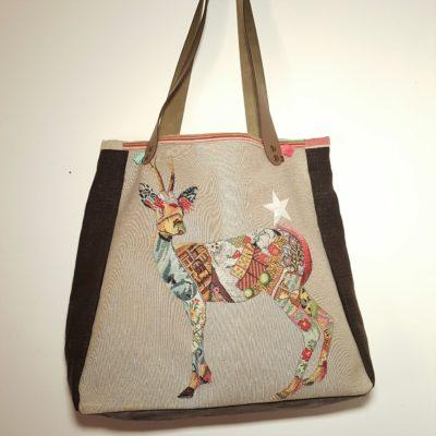 sac étoile gazelle multicolore à talons et lin