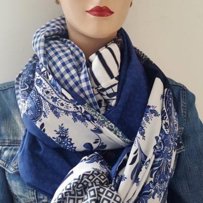 écharpe patchwork bleue Eline