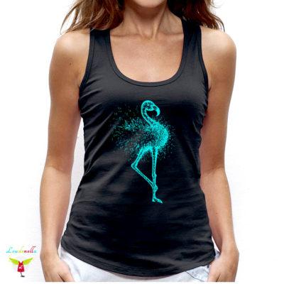 Débardeur Flamingo | motif turquoise sur tissu noir