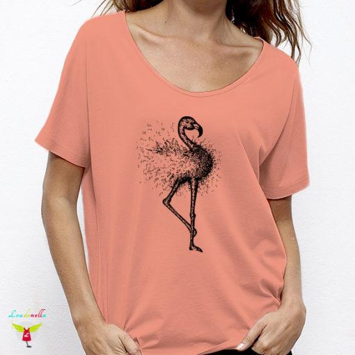 T-shirt Flamingo | motif rose sur tissu blanc