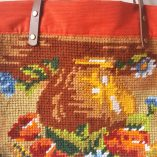 SAC CABAS CANEVAS BOUQUET ORANGE DETAIL DOS