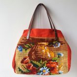 SAC CABAS CANEVAS BOUQUET ORANGE DOS 1