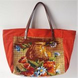 SAC CABAS CANEVAS BOUQUET ORANGE DOS