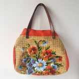 SAC CABAS CANEVAS BOUQUET ORANGE FACE 1