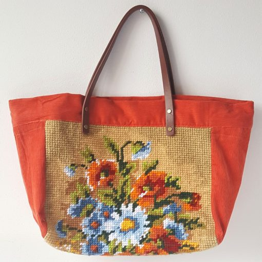 SAC CABAS CANEVAS BOUQUET ORANGE FACE (1)