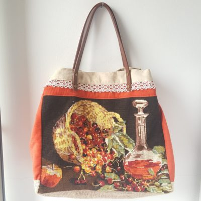 SAC CABAS CANEVAS FRUITS D AUTOMNE VELOURS ORANGE