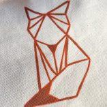 pochette renard origami marron détail