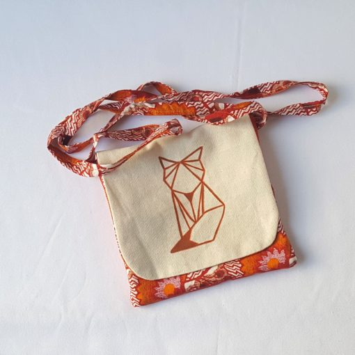 pochette renard origami marron face