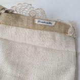 pochette vintage dentelle perles de verre moutarde 2
