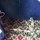 sac cabas titi parisien jean dentelle lin détail liens
