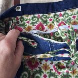 sac cabas titi parisien jean dentelle lin détail poche