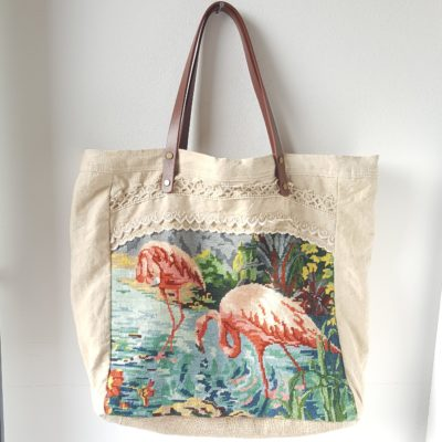 sac flamant rose festons