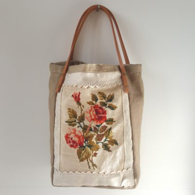 tote bag canevas roses anciennes-lin