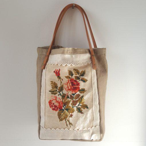 tote bag canevas roses anciennes-lin