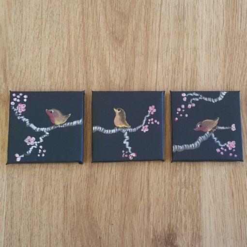 triptyque noir birds fleurs de cerisier 5x5