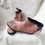 boots rose poudré étoiles taupe noeud toile de jouy 1