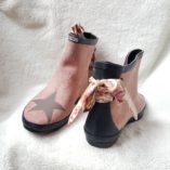 boots rose poudré étoiles taupe noeud toile de jouy 2