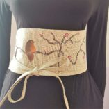 obi - lin coton fleurs cerisier liberty réversible