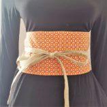 obi- lin coton fleurs cerisier orange origami réversible 3