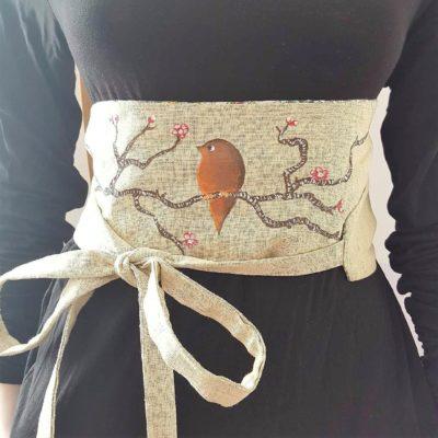 obi- lin coton fleurs cerisier orange origami réversible