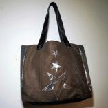 sac étoilé patchwork de lin cuir et argent 1