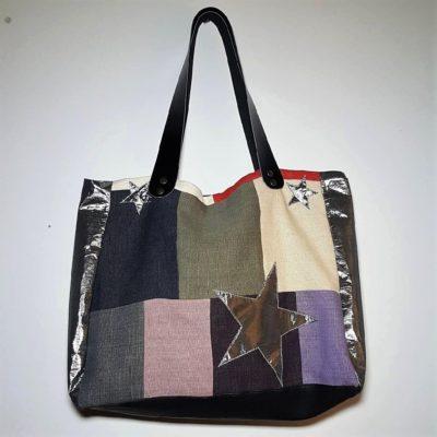 sac étoilé patchwork de lin cuir et argent