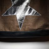 sac étoilé patchwork de lin cuir et argent 5