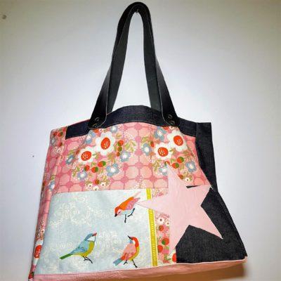 sac étoile bird rose cuir