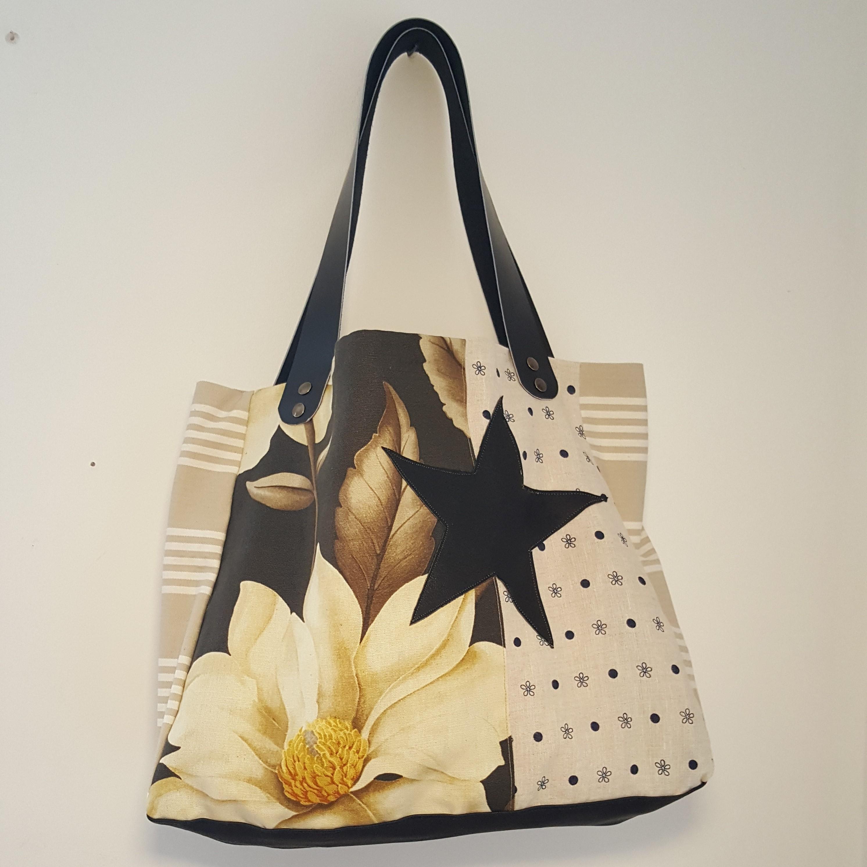 sac étoile lin-moutarde pivoine-cuir noir