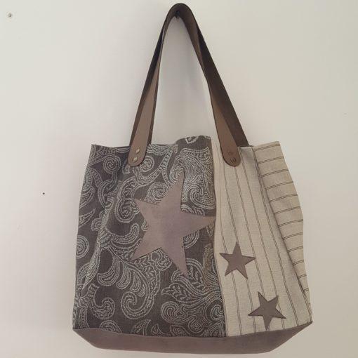sac étoile taupe lin