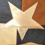 sac étoilé recto verso cuir doublé bayadère et sa pochette 5