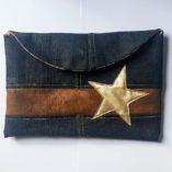 sac étoilé recto verso cuir doublé bayadère et sa pochette 9