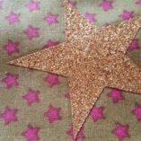 écharpe patchwork étoilée caramel pois et liberty