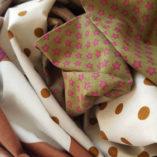 écharpe patchwork étoilée caramel pois et liberty 6