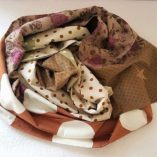 écharpe patchwork étoilée caramel pois et liberty 7