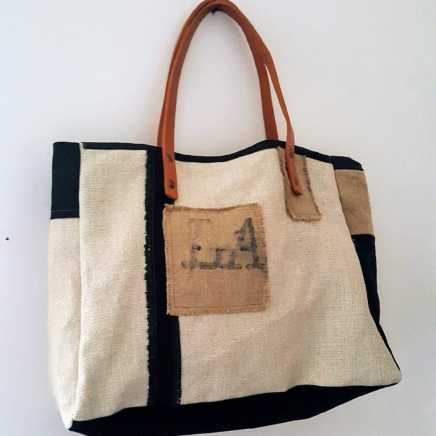 sac la poste lin coton noir 7
