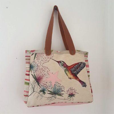 sac étoilé colibri cuir rose