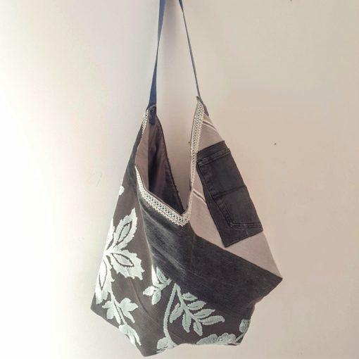 sac origami gris bleu