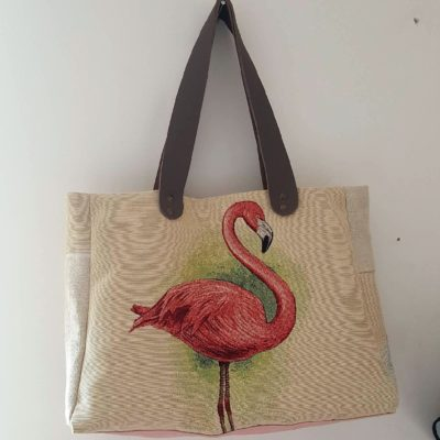 sac flamant rose lin
