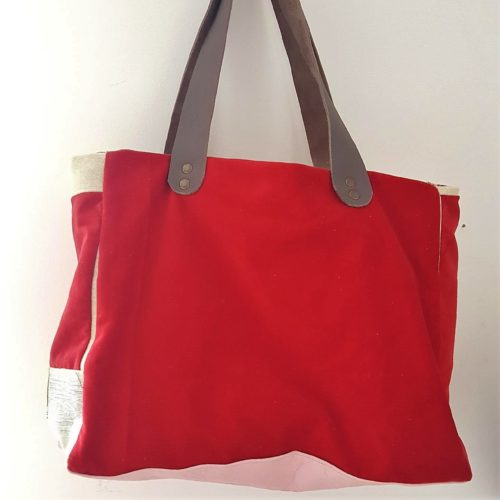 sac flamant rose velours rouge