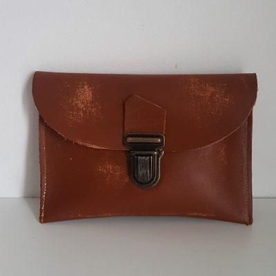 mini cuir marron vieilli