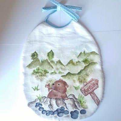 bavoir marmotte peint main