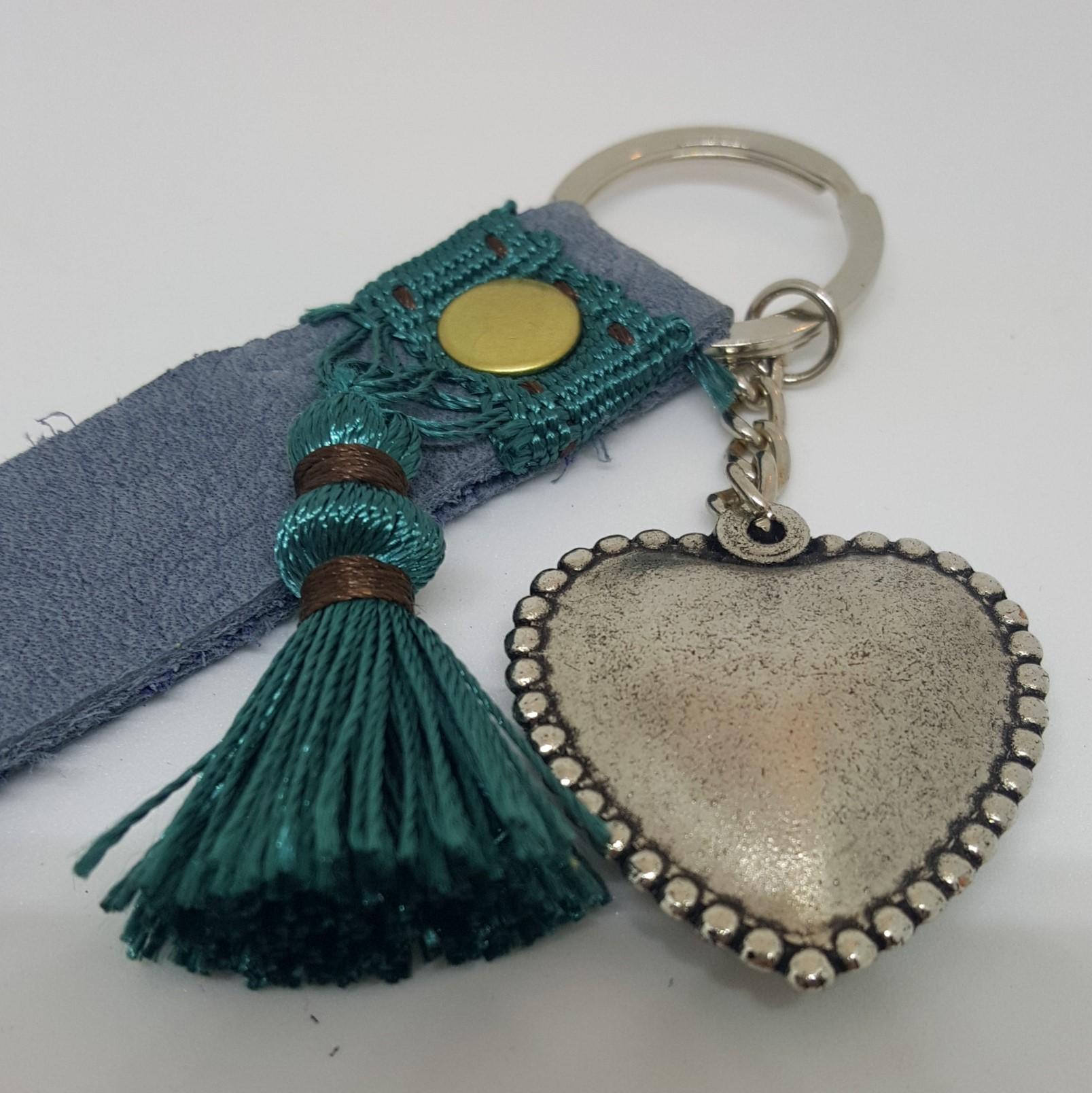 porte clef cuir gris-bleu