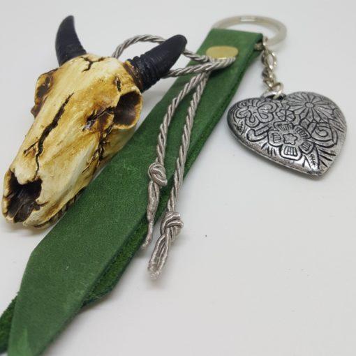 porte-clef buffle et cuir vert