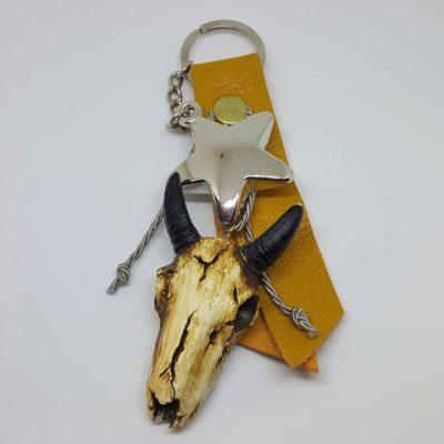 porte clef buffle et cuir safran