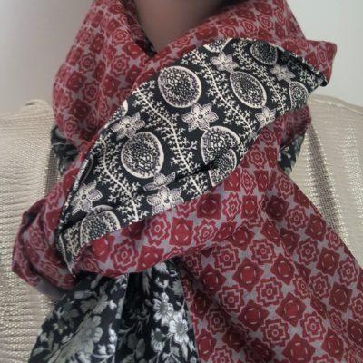écharpe patchwork bordeaux et noire