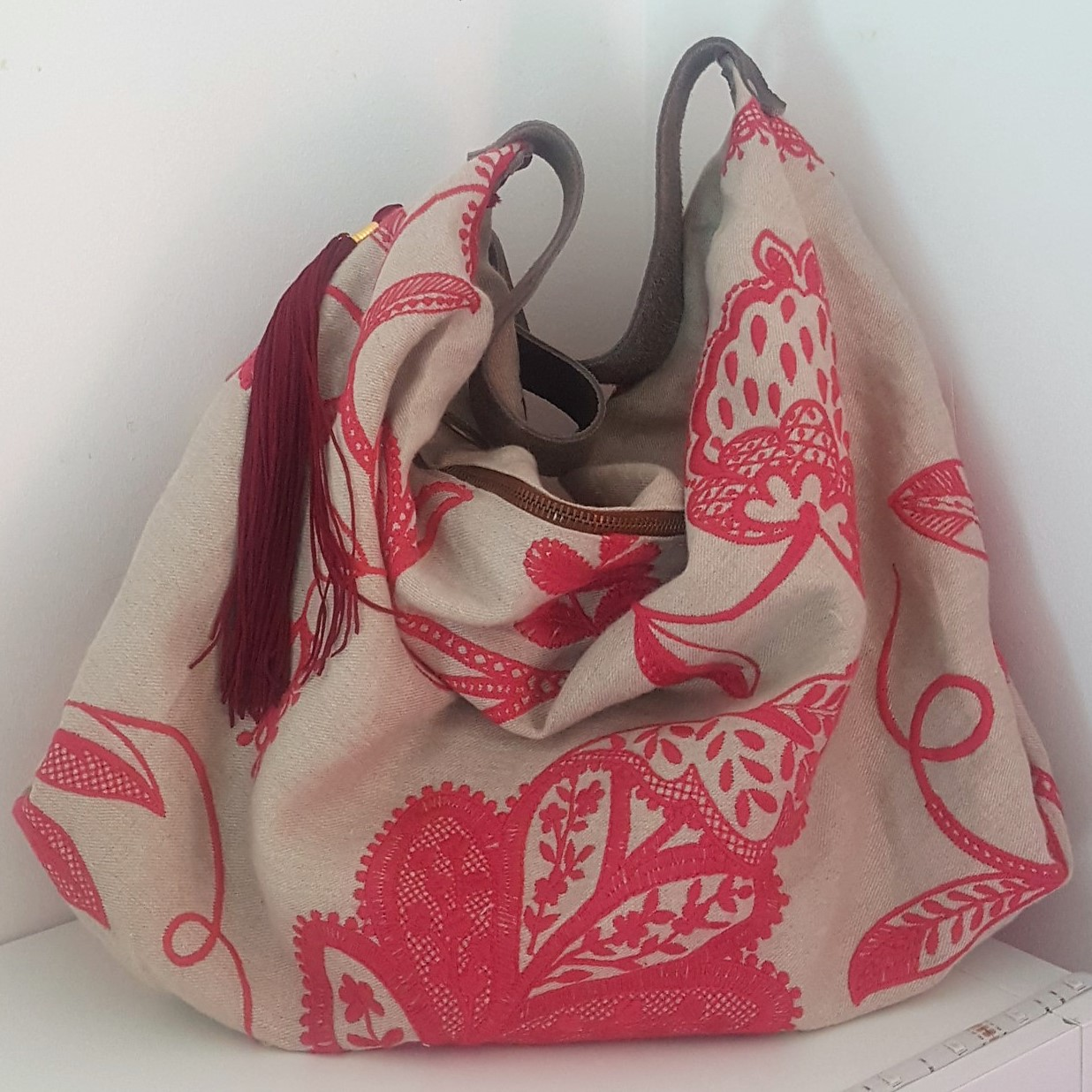 sac lin viscose brodé shopping