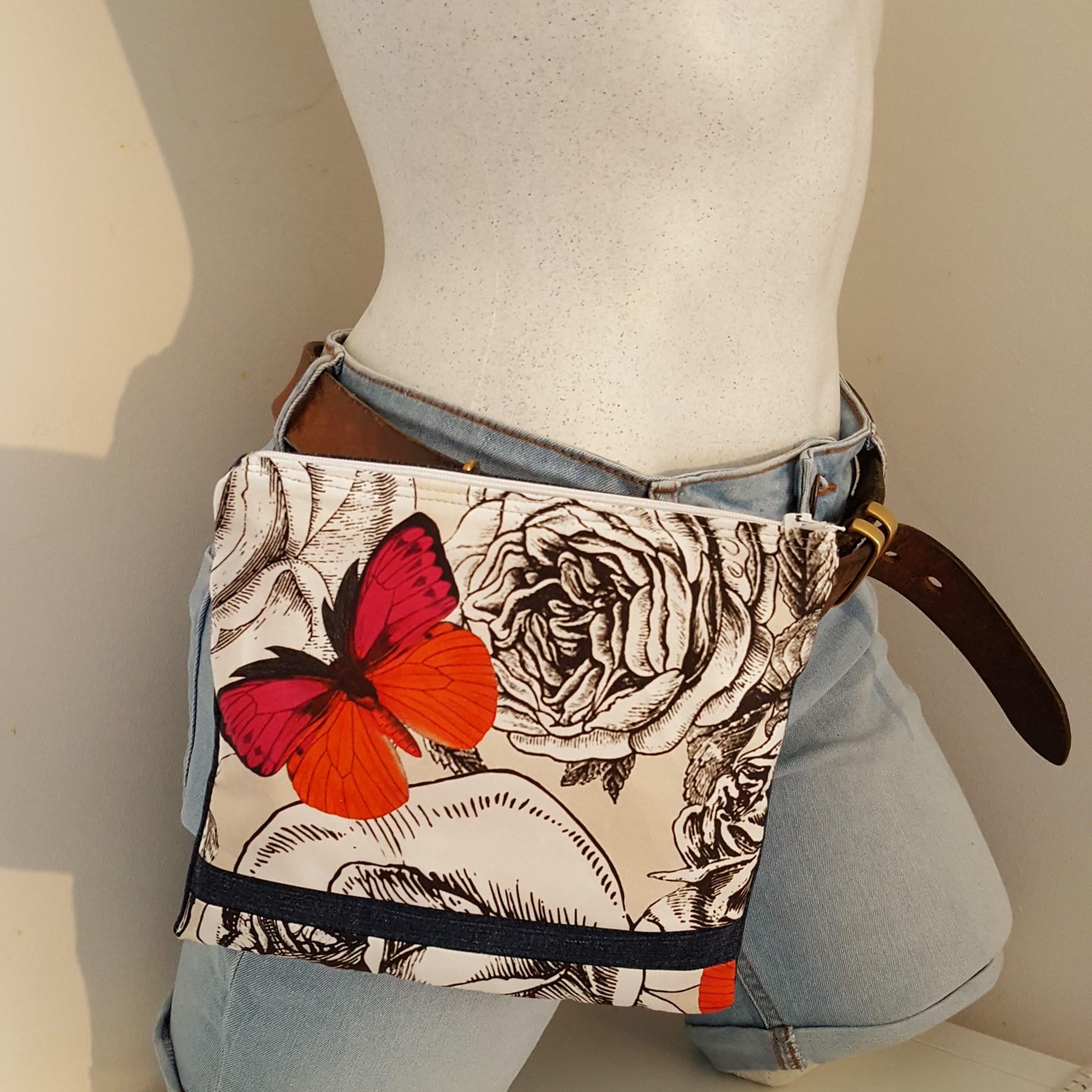 pochette à ceinture papillon rose-orange