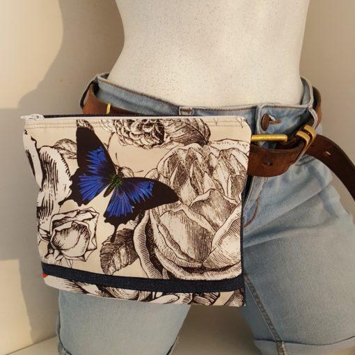 pochette à ceinture papillon bleu